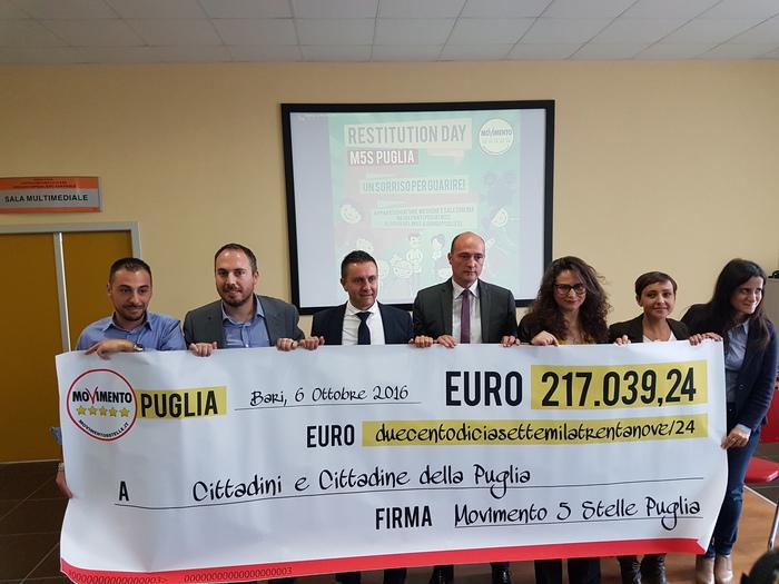 Polemica Emiliano-M5s su restitution day