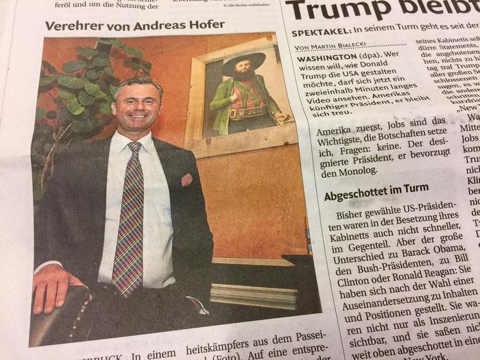 Austria, Hofer è fan di Andreas Hofer