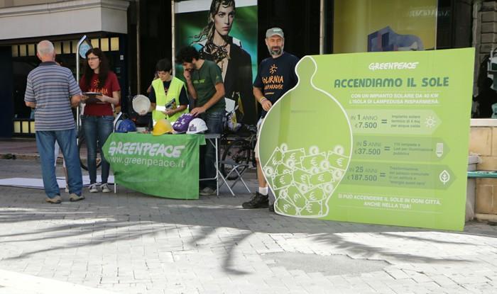 Greenpeace,iniziativa Accendiamo il sole
