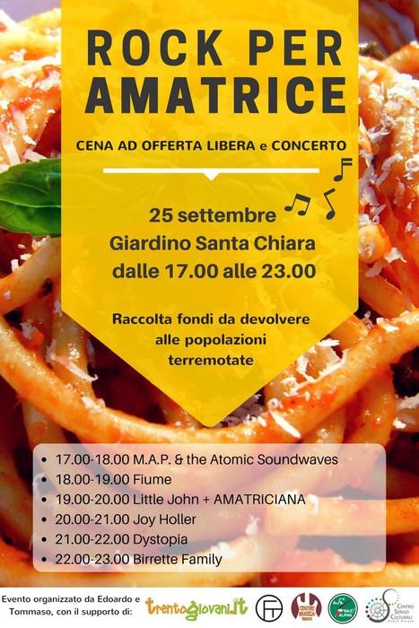 Sisma: rock per Amatrice a Trento in giardino Santa Chiara