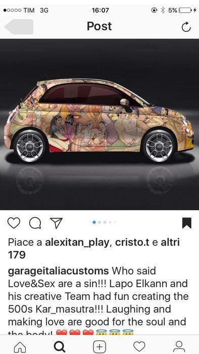 Lapo di nuovo social ultima provocazione la 500 39 kar for Fiat 500 karmasutra
