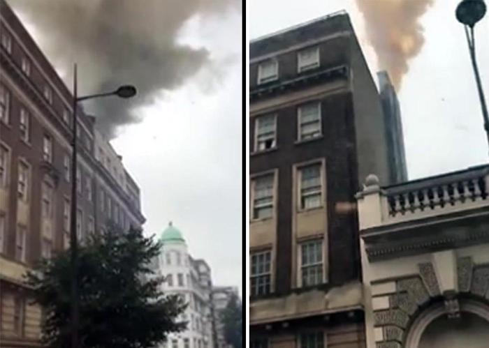 Gb: incendio in centro a Londra, vigili del fuoco al lavoro