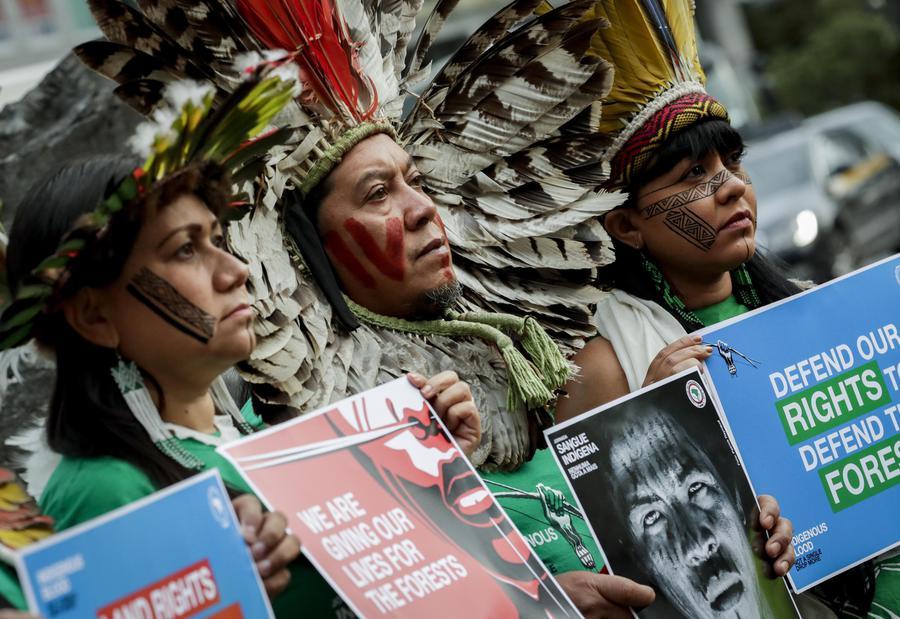Protesta Comunità Indigene Brasiliane Davanti Ue
