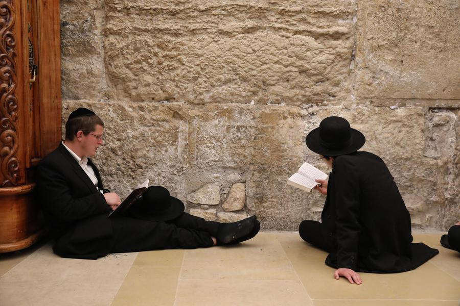 Ebrei ortodossi pregano al Muro del Pianto di Gerusalemme