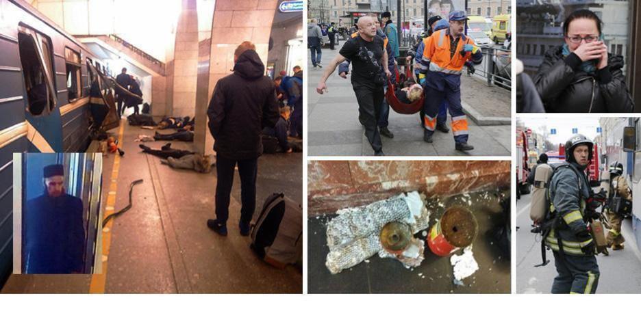 In basso a sinistra la foto del presunto attentatore di San Pietroburgo (immagine tratta dall'agenzia Fontanka) (ANSA)