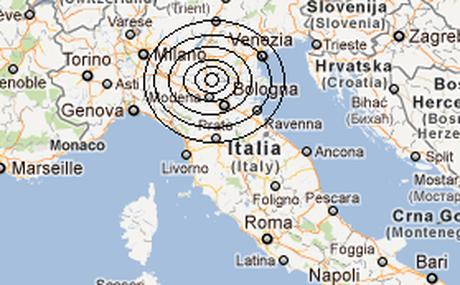 L'area del sisma al Nord Italia