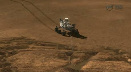 Immagine di un veicolo spaziale a 6 ruote, di quelli che esplorano il terreno,
