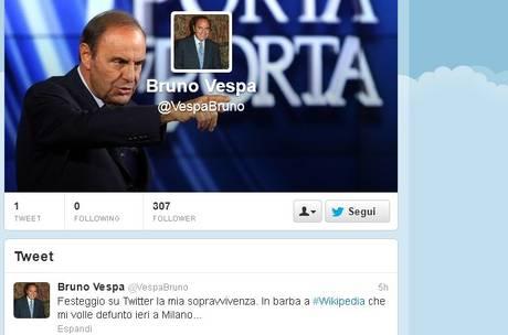 Il profilo di Bruno Vespa su Twitter