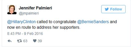 Hillary concede vittoria a Sanders