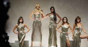 Carla Bruni, Claudia Shiffer, Naomi Campbell, Cindy Crawford and Helena Christensen wear a creations as part of the Versace women's Spring/Summer 2018 fashion collection