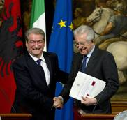 Monti hails partnership with Albania