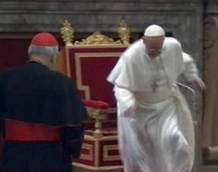 Pope almost takes a tumble