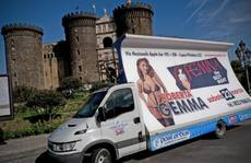 Naples tourists snap pics of porn poster blocking castle
