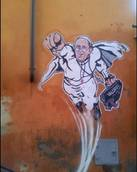 Rome mural shows Pope Francis as Superman