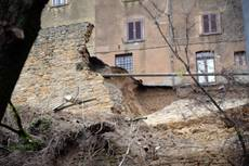 Section of medieval wall in Volterra collapses due to storms