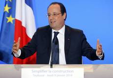 French President Hollande to meet Pope Francis Jan 24