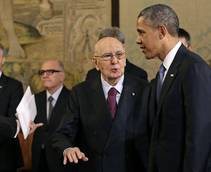 Obama meets Napolitano after 50 minutes of talks with pope