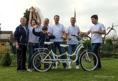 All-white 'HugBike' for pope on Autism Awareness Day