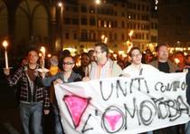 Una manifestazione contro l'omofobia