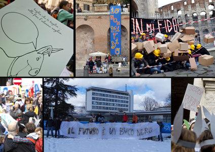 Una combo con le proteste degli studenti