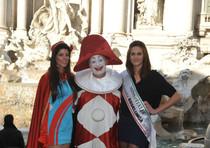Le due maschere tradizionali Burlamacco e Ondina con Eleonora Pierelli, Miss Simpatia - FOTOMANIA U.S.MISS ITALIA