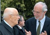 Giorgio Napolitano accolto da Renzo Piano
