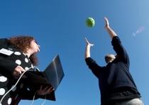 Palla in aria scatta foto a 360 gradi