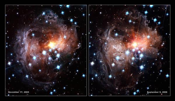 'Eco luminosa' delle polveri che cricondano un buco nero (fonte: NASA/ESA)