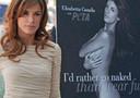 Elisabetta Canalisi accanto alla locandina della nuova campagna Peta ' Meglio nuda che in pelliccia'