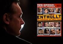 Il fondatore di Wikileaks Julian Assange e la copertina di Spiegel