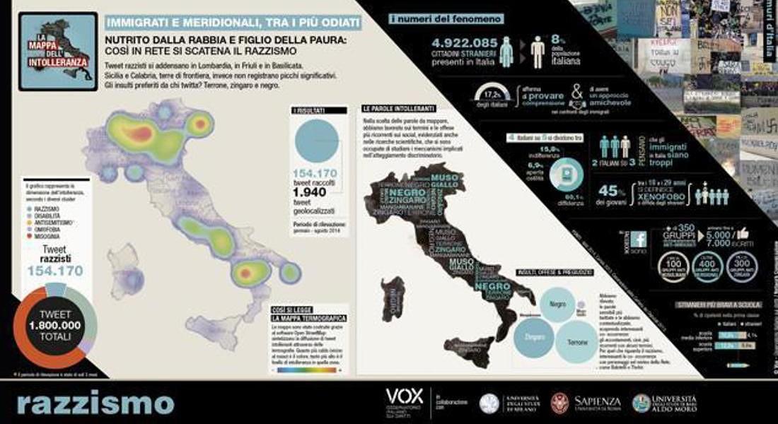 la Mappa dell'intolleranza © ANSA