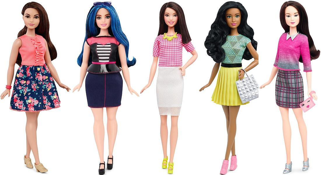 Le nuove  Barbie : Curvy SpringStyle, Curvy SweetheartStripes, Tall WhitePinkPizzazz, Orig BFabulous, Orig ChicWink. © ANSA