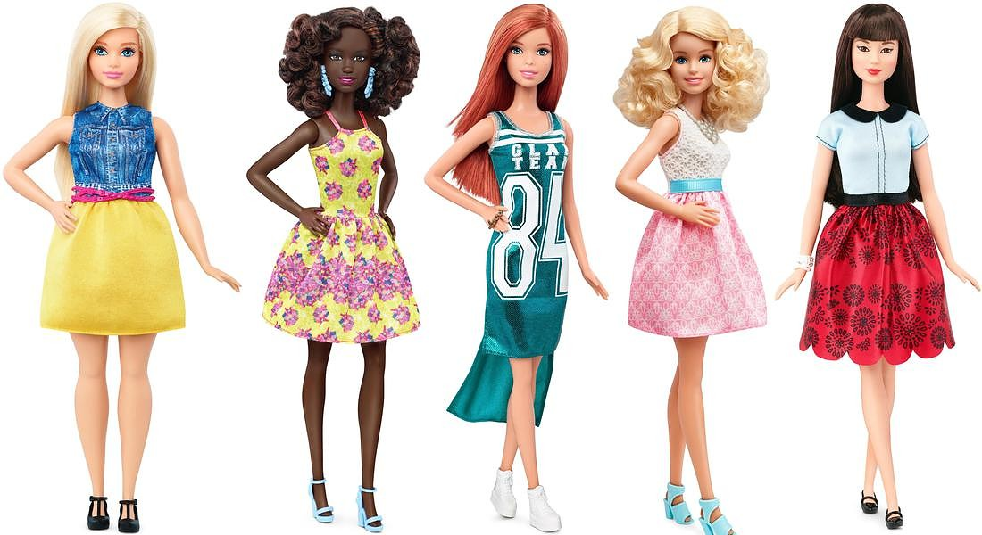 Le nuove Barbie : Curvy ChambrayChic, Orig FancyFlowers, Orig GlamTeam, Orig PowderPink, Orig RubyRed © ANSA