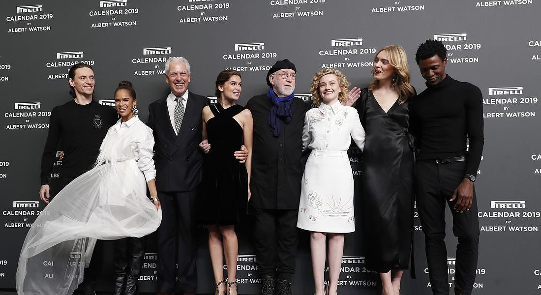 Italy Pirelli Calendar dancer Sergei Polunin, dancer Misty Copeland, Pirelli President Marco Trochetti Provera,  actress Laetitia Casta, photographer Albert Watson, actress Julia Garner, model Astrid Eika and  dancer Calvin Royal III © AP