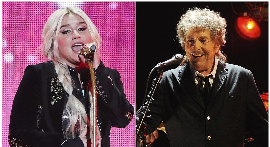 Kesha e Bob Dylan, who have reimagined songs to honor the LGBTQ community, for the six-song album, Universal Love, released digitally Thursday © AP