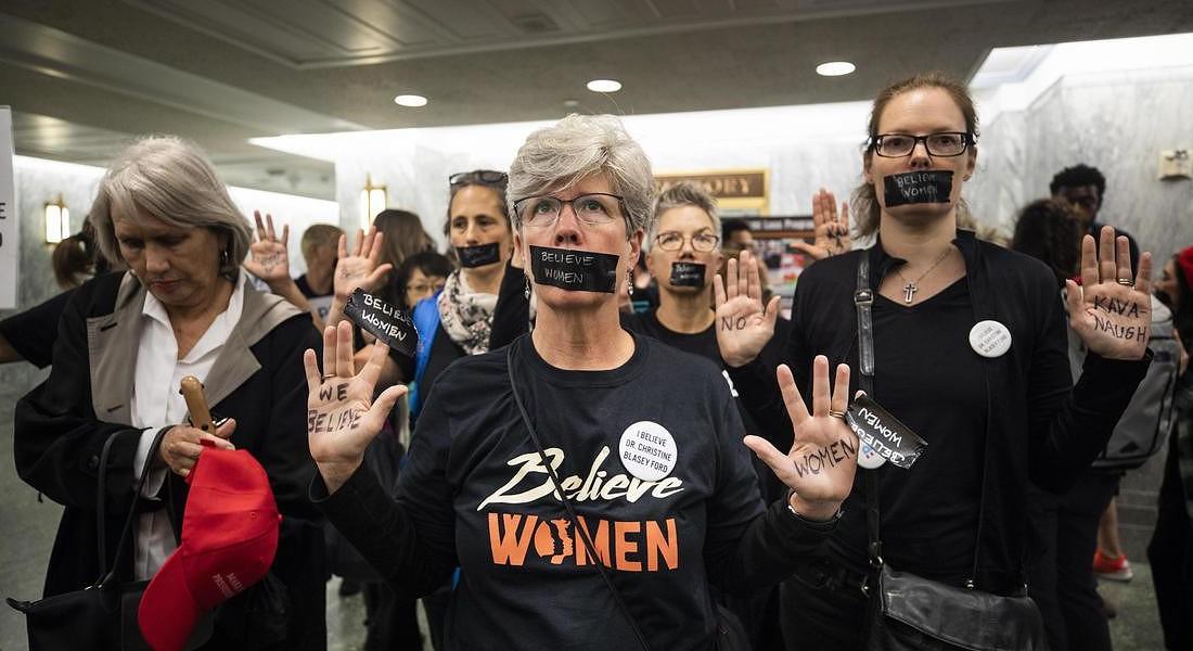 Protestors gather as Brett Kavanaugh and Christine Blasey Ford testify on Capitol Hill © EPA