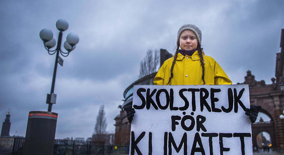 Greta Thunberg during her Friday climate change protest - 2018 © EPA