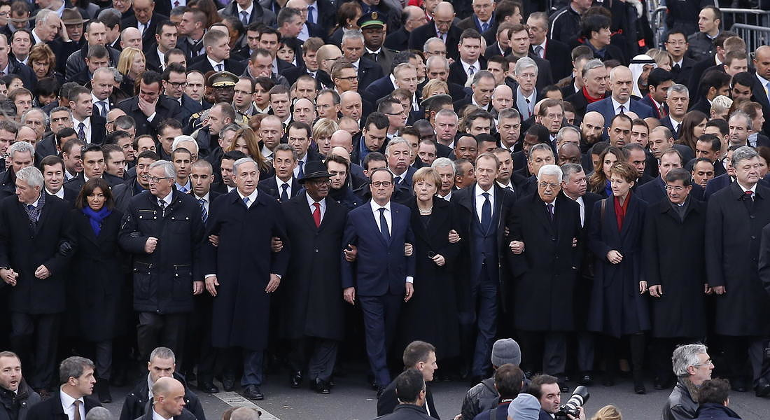 World leaders gather after Charlie Hebdo terror attacks - 2015 © EPA