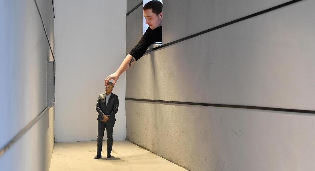 Milan Design Week: Fuori Salone. L'installazione Human Proportions, un padiglione trapeziodale per creare un'esperienza di prospettiva. E' realizzata da Massimo Iosa Ghini all'Università Statale di Milano © ANSA