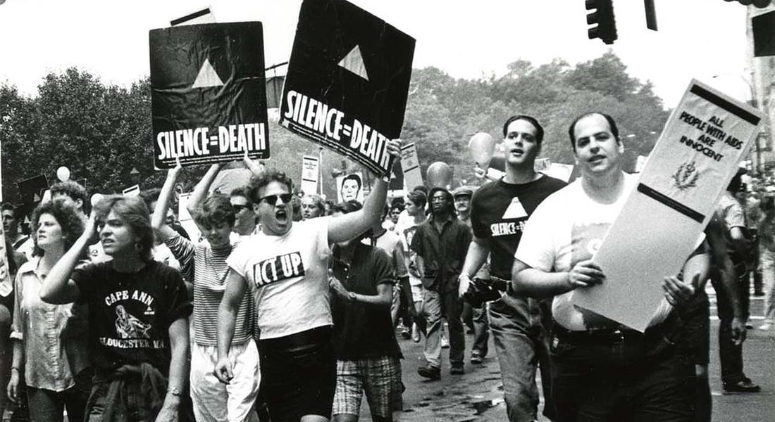 NEW YORK CELEBRA I 50 ANNI DEI MOTI DI STONEWALL Eugene Gordon ACT UP activists at Pride March, 1988  New-York Historical Society Library © ANSA