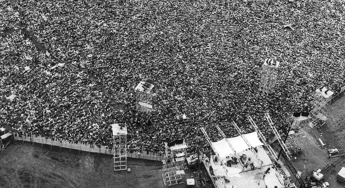 16 agosto 1969 - immagine aerea del concerto di Woodstock © AP