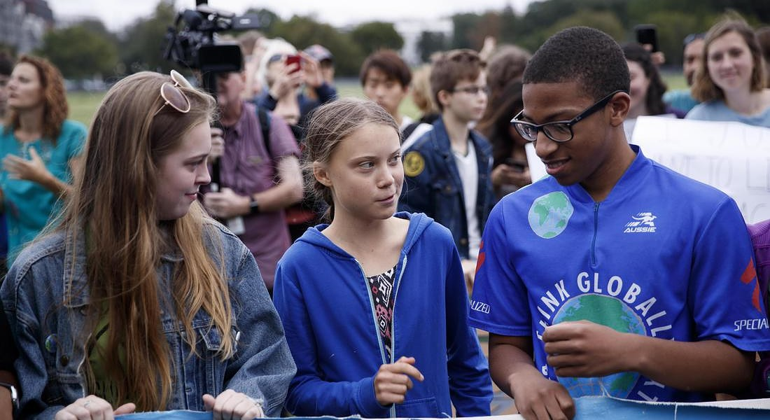 Greta Thunberg participates in a school strike for climate reform on the Ellipse near the White House © EPA