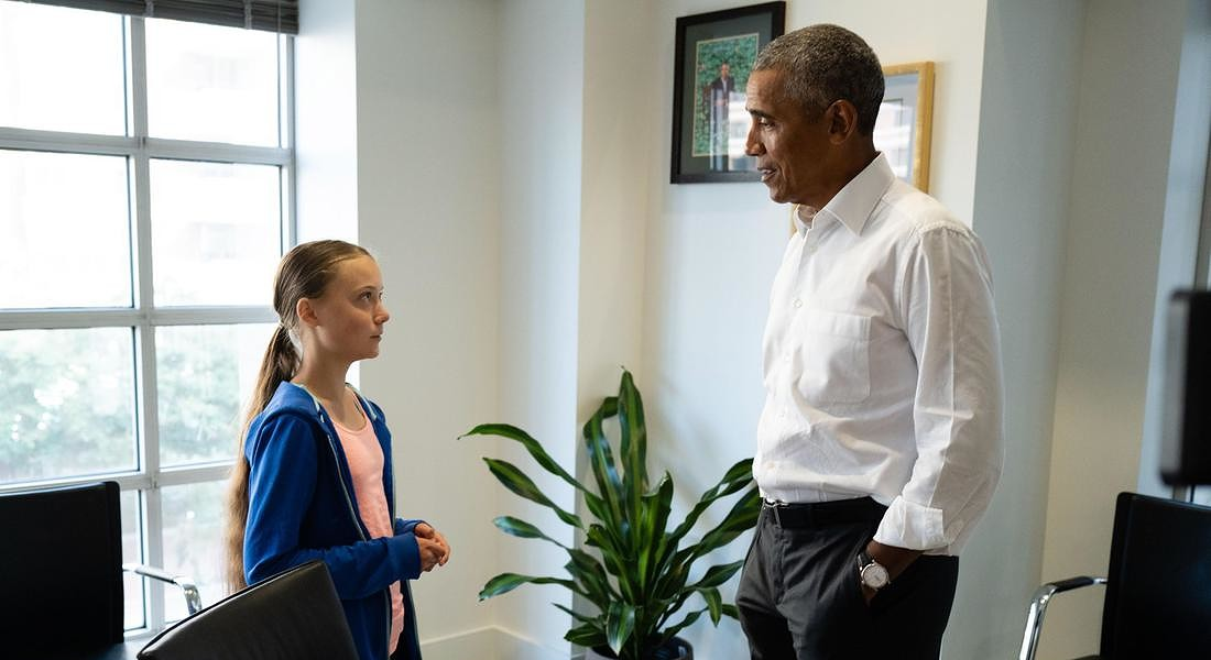 Obama meets with Greta Thunberg © EPA