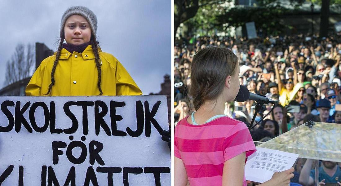 l'attivista svedese Greta Thunberg con il cartello 'Sciopero scolastico per il clima'  solitaria davanti al Parlamento svedese a Stoccolma  nel 2018 e durante una manifestazione a New York il 20 settembre 2019. © ANSA