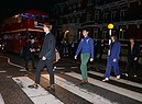 Models walk across Abbey Road to the Stella McCartney Menswear launch and Women's Spring 2017 collection presentation at Abbey Road Studios on November 10, 2016 in London, England. Pic Credit: Dave Benett (ANSA)