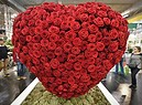 A big heart made of red roses is on display at the flower show in Essen, Germany, Thursday, Jan. 25, 2018. (ANSA/AP Photo/Martin Meissner) (ANSA)