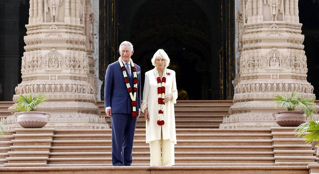 Britain's Prince Charles and Camilla visit to Hindu temple Akshardham © EPA