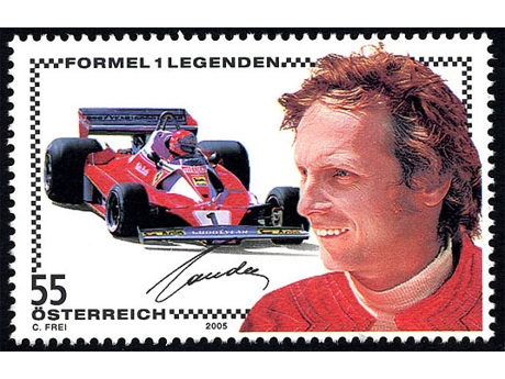Le poste austriache emetteranno dal 13 settembre questo francobollo con il campione Niki Lauda, leggenda della Formula 1