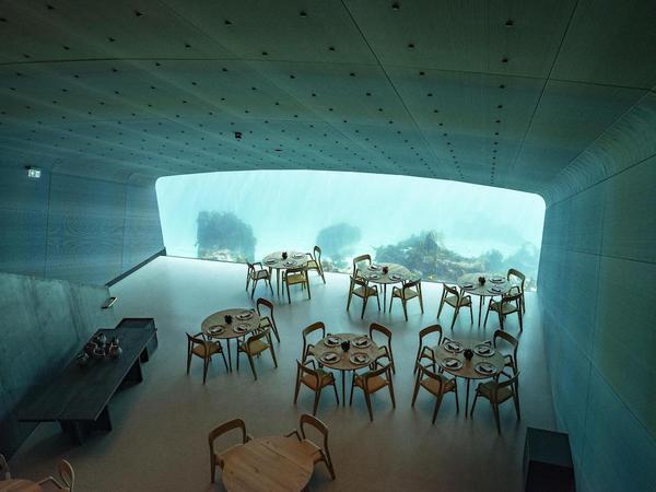 Cena sotto il mare nel ristorante subacqueo in Norvegia