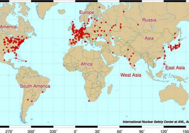 Cartina Centrali Nucleari Nel Mondo.442 Reattori Nel Mondo 148 In Europa Energia Ansa It